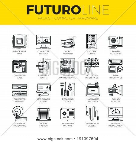 Unique thin line icons set of computer hardware and electronics parts. Premium quality outline symbol collection. Modern linear pictogram pack of metaphors. Stroke vector logo concept for web graphics.