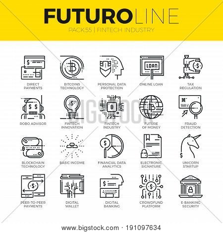 Unique thin line icons set of fintech industry finance digitization. Premium quality outline symbol collection. Modern linear pictogram pack of metaphors. Stroke vector logo concept for web graphics.