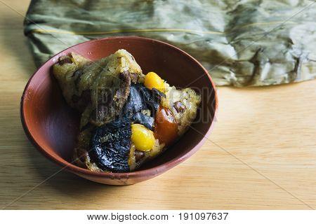 Chinese rice dumplings or zongzi,ba-jang in bowl