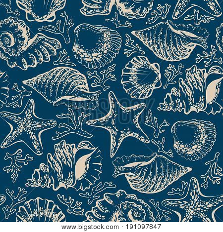 Vector illustration, seamless pattern, seashells, starfish and corals on a dark blue background