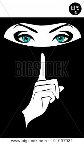 Quiet Please. Stock vector Woman in black niqab for your design