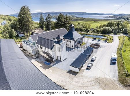GLENBEG, ARDNAMURCHAN SCOTLAND - MAY 26 2017 : Ardnamurchan distillery is producing whisky since 2014 and actually expanding their warehouses in Glenbeg, aerial
