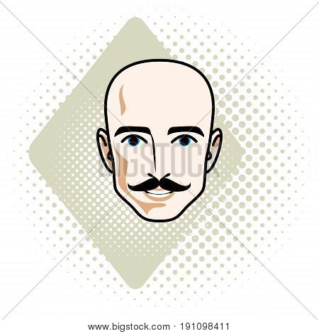 Caucasian man face vector human head illustration. Attractive hairless male with whiskers hipster