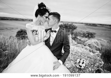 Beautiful Bride And Handsome Groom Are Sitting On The Stone With A Beautiful Landscape On The Backgr