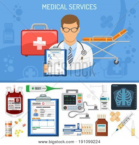 Medical Services Concept with flat icons doctor, prescription, stethoscope, medical record, x-ray, blood container. isolated vector illustration