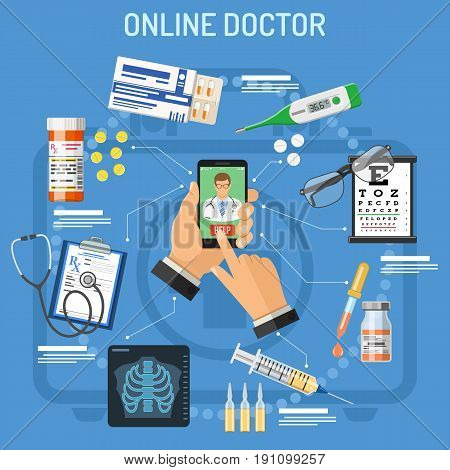 Online doctor concept. Man holding smart phone in hand and calls doctor. Flat style icons prescription, stethoscope, pills, thermometer. isolated vector illustration
