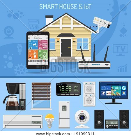 Smart House and internet of things concept. smartphone controls smart home like security cam, lighting, air conditioning and music center flat icons. Isolated vector illustration