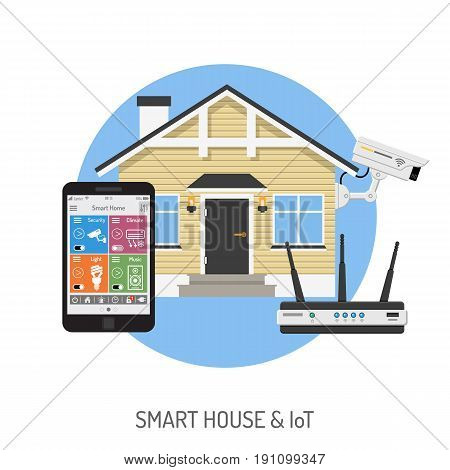Smart House and internet of things concept. smartphone controls smart home like security cam and router flat icons. Isolated vector illustration