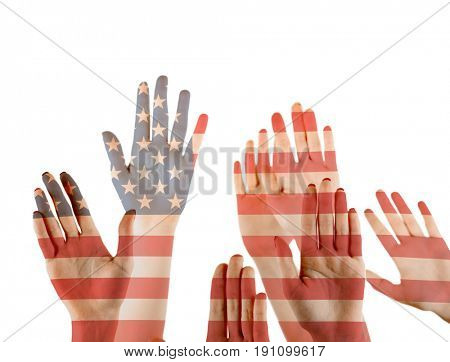 Double exposure of raised hands and American flag on white background. Concept of liberty and democracy