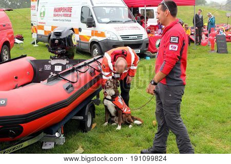 Beaulieu, Hampshire, Uk - May 29 2017: Officers, Dog, Van And Dinghy Belonging To The Hampshire Sear