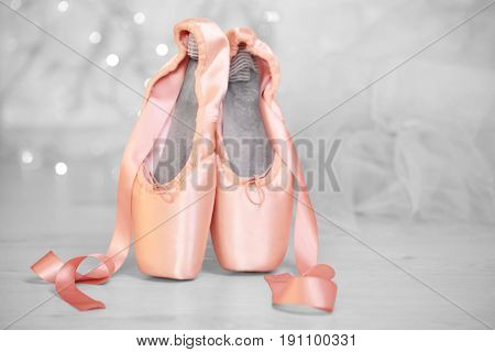 Ballet shoes on floor, closeup