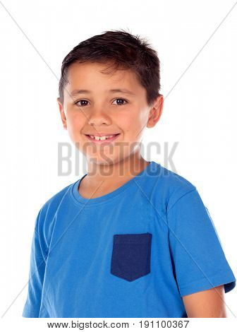 Beautiful child with blue tshirt and black hair isolated on a white background