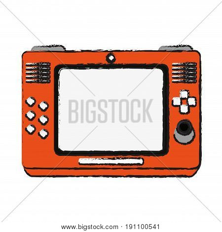 arcade screen with buttons and joystick videogames related icon image vector illustration design  sketch style