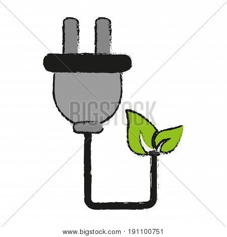 plug with cord eco freindly related icon image vector illustration design  sketch style
