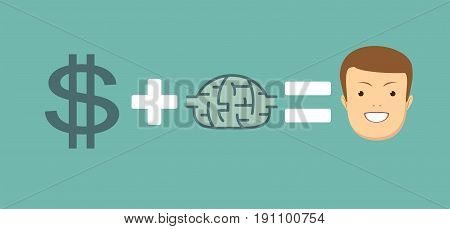 Money and brains make you happy. Stock vector illustration for poster, greeting card, website, ad, business presentation, advertisement design.