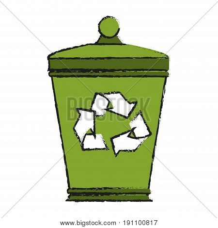garbage can eco freindly related icon image vector illustration design  sketch style