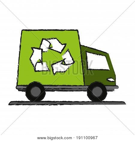 recycling truck eco freindly related icon image vector illustration design  sketch style