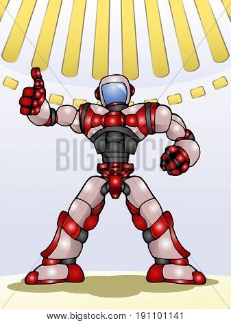 illustration of a droid robot thumb up