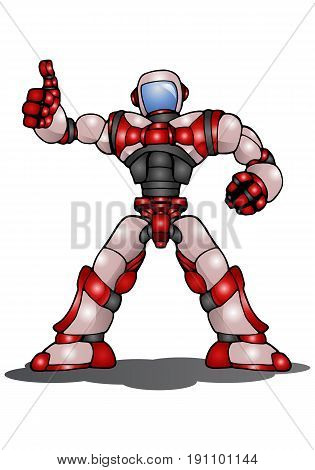 illustration of a droid robot thumb up on isolated white background