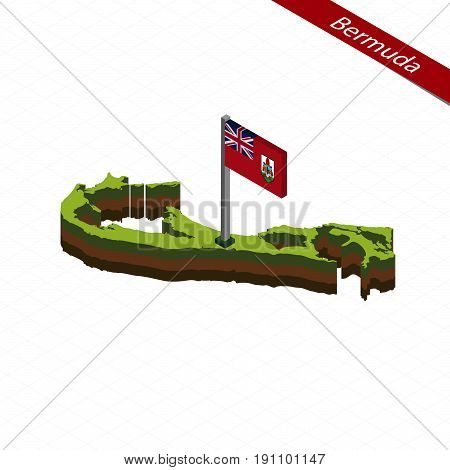 Bermuda Isometric Map And Flag. Vector Illustration.