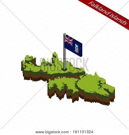 Falkland Islands Isometric Map And Flag. Vector Illustration.