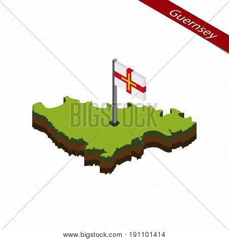Guernsey Isometric Map And Flag. Vector Illustration.