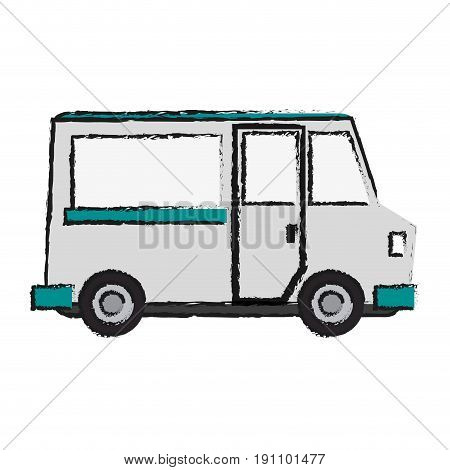 food truck icon image vector illustration design  sketch style