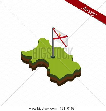 Jersey Isometric Map And Flag. Vector Illustration.