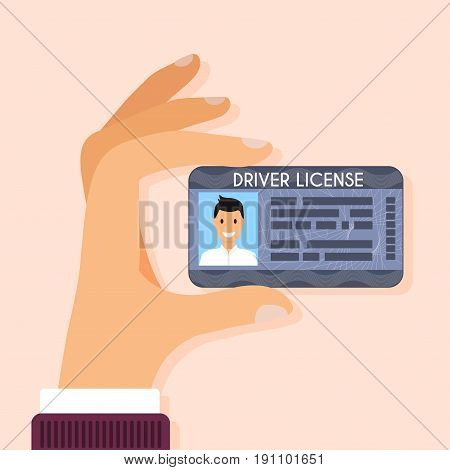 Hand holding driver license with male photo. Flat design style modern vector illustration.