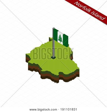 Norfolk Island Isometric Map And Flag. Vector Illustration.