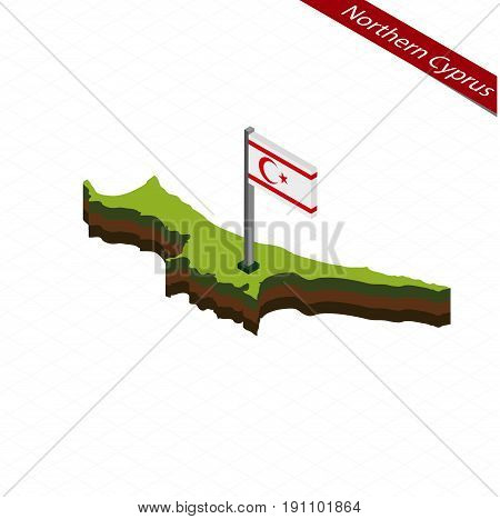 Northern Cyprus Isometric Map And Flag. Vector Illustration.