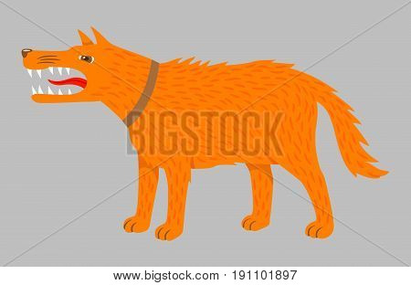 Angry ginger dog. Vector on grey. Agressive dog with sharp teeth. Vector illustration isolated on grey