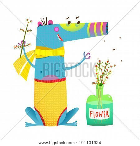 Fun creature sitting near the bottle with bunch of flowers cartoon. Vector illustration