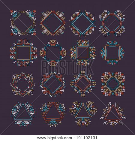 Vector set of ethnic logo frames. Monogramms and emblems design in trendy liner style isolated on background. Floral and nature motifs.
