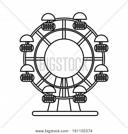 ferris wheel fair or carnival icon image vector illustration design  black line