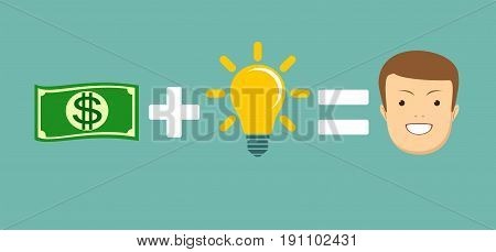 Money and ideas equal to happiness. Stock vector illustration for poster, greeting card, website, ad, business presentation, advertisement design.