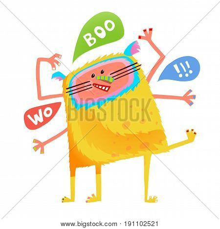 Fun imaginary kids creature many hands saying woo boo. Vector illustration.