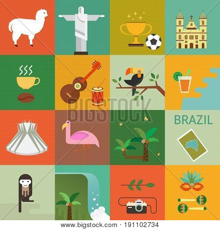 Vector illustration with Brazil symbols  made in modern flat style. Travel to Brazil concept. Flat icons arranged in square.