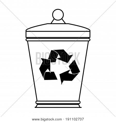 garbage can eco freindly related icon image vector illustration design  black line