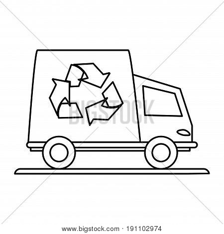 recycling truck eco freindly related icon image vector illustration design  black line