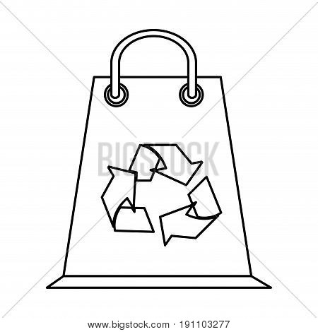 shopping bag eco freindly related icon image vector illustration design  black line