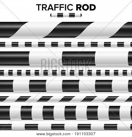 Traffic Police Stick, Baton Set Isolated On White Background. Horizontal Seamless
