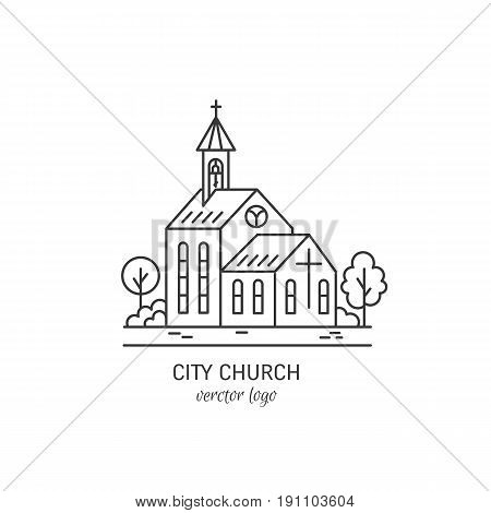 Vector logo design templates - christian church concept isolated on white. City church symbols in linear style. Religion building icon.