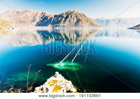 Sunken sailboat in the Bay of Kotor.Shipwreck .