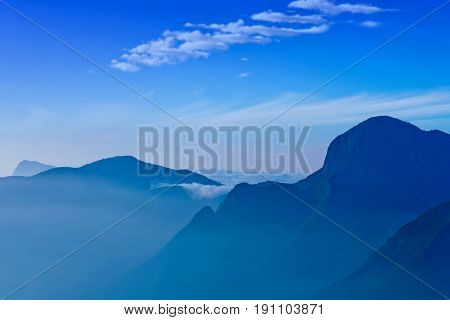 Western Ghats - mountain landscape in Kerala, South India. The Western Ghats or Sahyadri is a mountain range that runs parallel to the western coast of the Indian peninsula located entirely in India.