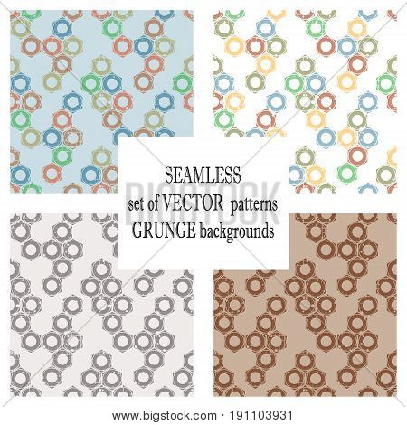 Set Of Vector Seamless Patterns With Mechanism Of Screw Nuts. Creative Geometric Grunge Backgrounds.