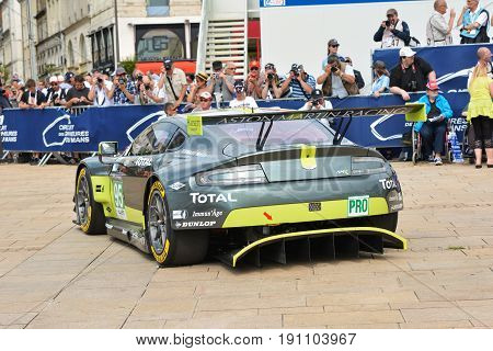 LE MANS, FRANCE - JUNE 11, 2017: Weighing, administrative and technical checks of the race cars for competition 24 hours of Le mans. Representation of Aston Martin racing car
