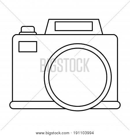 photographic camera icon image vector illustration design  black line