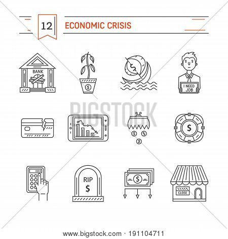 Vector economic and financial crisis icons set  in linear style.  Financial bankruptcy  and unemployment concepts isolated on white background. Infographics design elements.