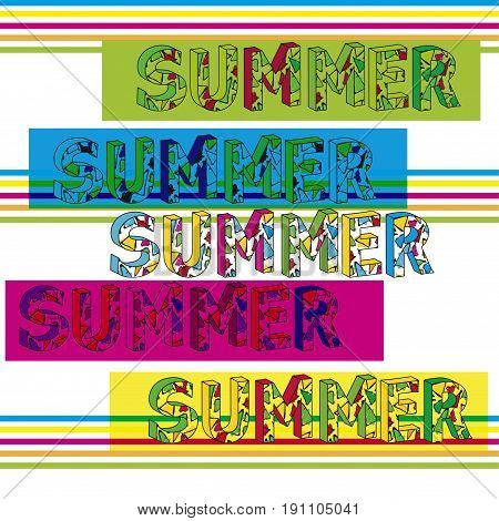 Summer template. Vector design. Gaudi triangle style